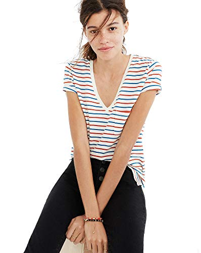 Madewell Whisper Cotton V-Neck Pocket Tee in Brion Stripe, Size Small from Madewell