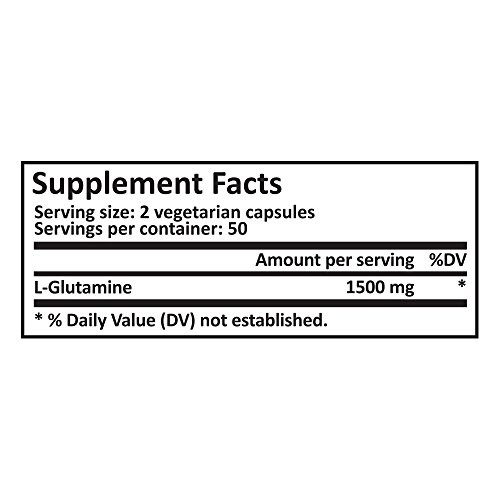 Pure Science L Glutamine Supplement 1500mg – Improves Energy Levels & Muscle Mass, Muscle Recovery, Supports Digestive & Immune Health – 100 Vegetarian Capsules of Glutamine Powder