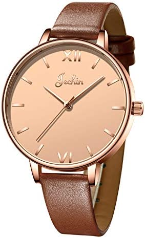 Jechin Casual Ladies watches Leather wrist watch Waterproof quartz watch