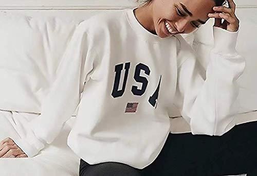 Size White Qinch Collo Primavera Autunno L Lunga Felpa Manica Sciolto Donna Moda Lettera Rotondo Stampata Shirt Black Speciale Top Elegante color Maglione Casual Stile Pullover 4SBPr4wq