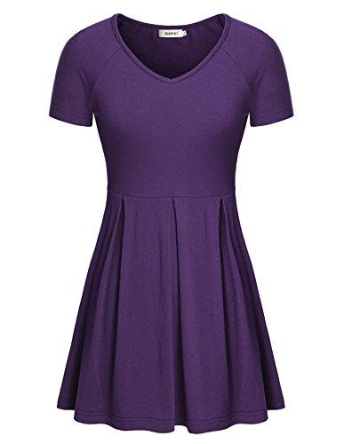 Sweetheart Tunic Top (Ladies Blouses Short Sleeve Summer,Bepei Tunic Tops For Leggings Purple XL)