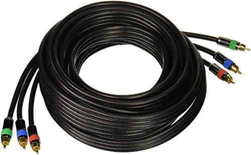 Monoprice 102771 25-Feet 18AWG CL2 Premium 3-RCA Component RG6-U Video Coaxial Cable - Black (Rca Cable Cl2)