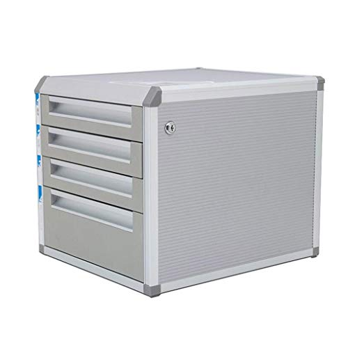 YULAN Silver Desktop File Cabinet Aluminum Alloy Lock Drawer Type 4 Storage Data Office Rack 315mm 352mm 296mm