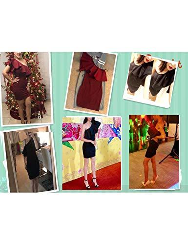 Dress Nero Party One Bodycon Ruffles Mini Sexy Cocktail Shoulder Womens Naliha zwZ51qvn