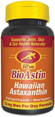 BioAstin Hawaiian Astaxanthin 12mg, 50 Count - Hawaiian Grown Premium Antioxidant - Supports Recovery from Exercise + Joint, Skin, Eye Health Naturally