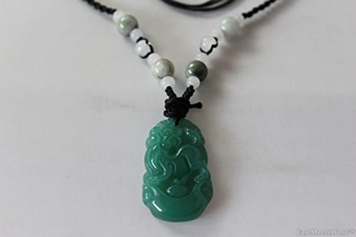 Chinese Carved Jade Pendant (Natural Green Jade Stone Hand Carved Lucky Pendant Charm Dog Zodiac Feng Shui Lucky Amulet)