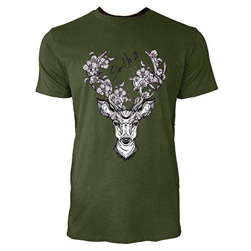 SINUS ART ® Hirschkopf mit Blumen Herren T-Shirts in Armee Grün Fun Shirt mit tollen Aufdruck
