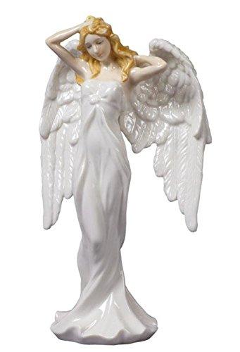 8 Inch White Glazed Porcelain Guardian Angel White Dress Stroking Hair