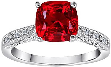 Star K Cushion Cut Created Ruby Solitaire Ring Sterling Silver