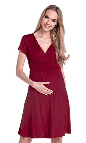 Happy Mama De Las Mujeres Maternidad Jersey Llamarada Bebé Ducha Vestido Corto Mangas 108 Carmesí