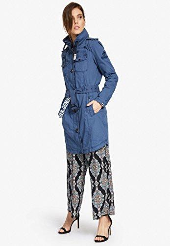 Larga Básico Manga Abrigo Azul para Mujer Blusa Khujo wEIq1Rw