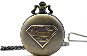 Topearl Superman The Man of Steel Superhero Quartz Pocket Watch Chain Value Quality Bronze