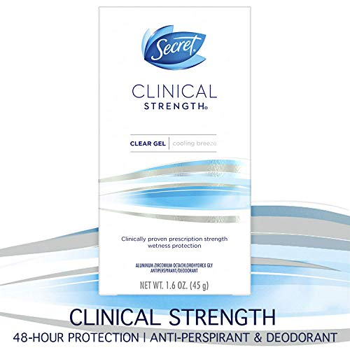 Secret Antiperspirant and Deodorant for Women, Clinical Strength Clear Gel, Cooling Breeze, 1.6 Oz (Best Deodorant For Female Athletes)