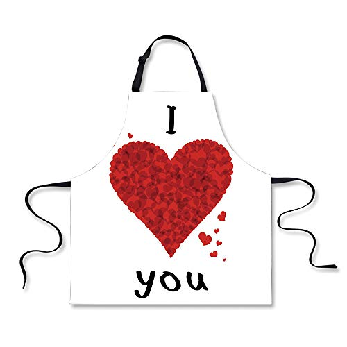 iPrint Cooking Apron,I Love You,Love Bouquet Shape Abstract Heart Vivid My Dear Friendship Affection Theme Design,Red White,3D Print (Red Heart 5 Jet)