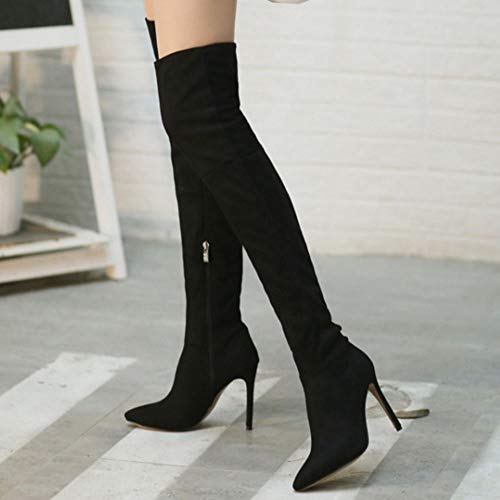 Black Boots Stivali il sopra High Heel Women ginocchio Taoffen Fashion 8 Zipper wBIUqwv