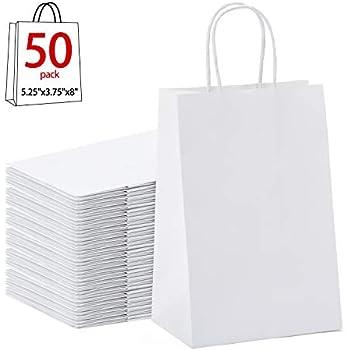 Amazon.com: Blanco Bolsas De Papel Kraft con asas la ...