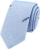 De Markt Stripe Necktie Cotton Skinny Tie for Weddings,Groom,Groomsmen,Missions,Dances