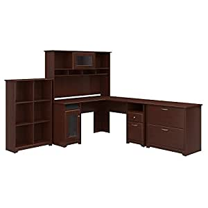 Bush Furniture Cabot L Shaped Desk with Hutch, 6 Cube Organizer and Lateral File Cabinet in Harvest Cherry