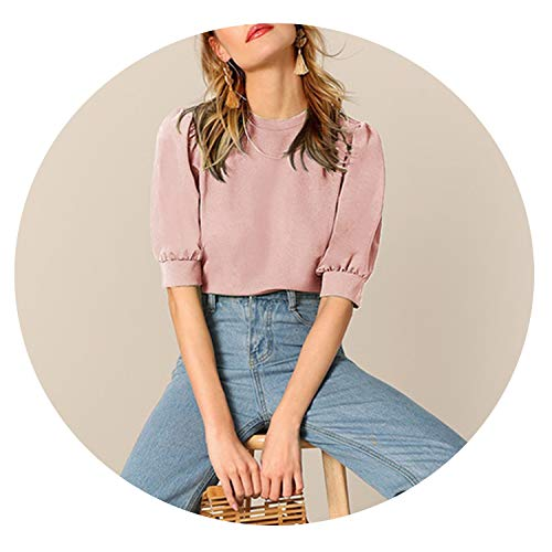(Ladies Casual Puff Sleeve Solid Top and Blouse Women 2019 Summer Half Sleeve Blouses,Pink,S)