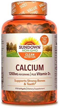 Sundown Calcium 1200 Plus Vitamin D3 1000 IU, 170 Liquid Filled Softgels