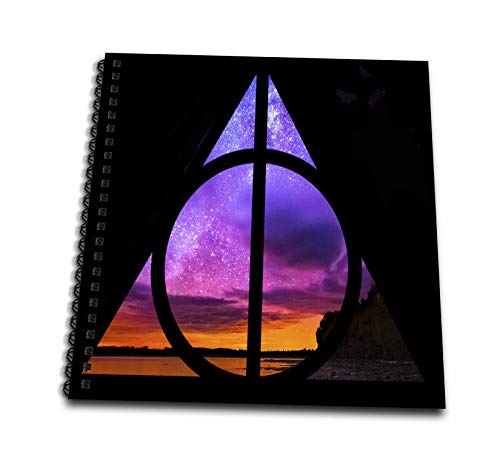 3dRose Tory Anne Collections Art - Harry Potter Deathly Hallows Magical Sunset Galaxy Stars - Drawing Book 8 x 8 inch (db_288492_1) (Harry Potter And The Deathly Hallows Drawings)
