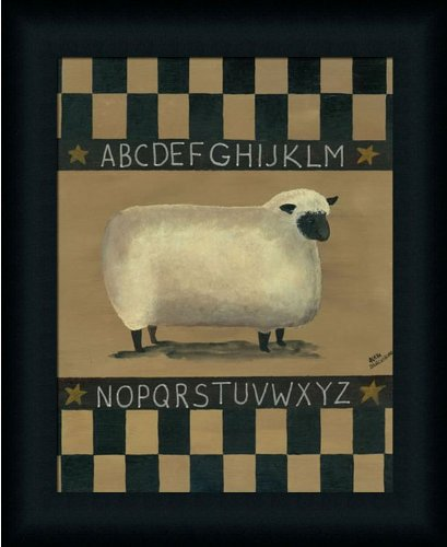 ABC Sheep Sampler by Aleta Blackstone Primitive Folk Art Country 14x17 in Framed Art Print (Framed Sampler)