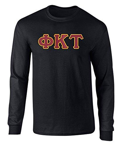 Phi Kappa Tau Twill Letter Long Sleeve Tee Black Large (Alumni Tee)