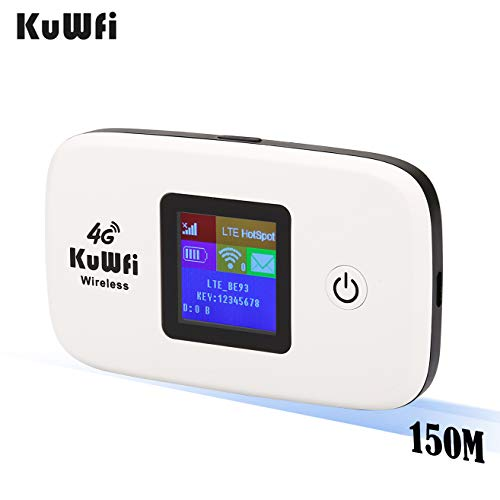 KuWFi US Version 4G LTE Router Unlocked Travel Partner 4G LTE Wireless 4G Router with SIM Card Slot Support LTE FDD B2/B4 /B5 Work with AT&T T Moblie Verizon Cricket Wireless SIM Card for USA/CA/MX