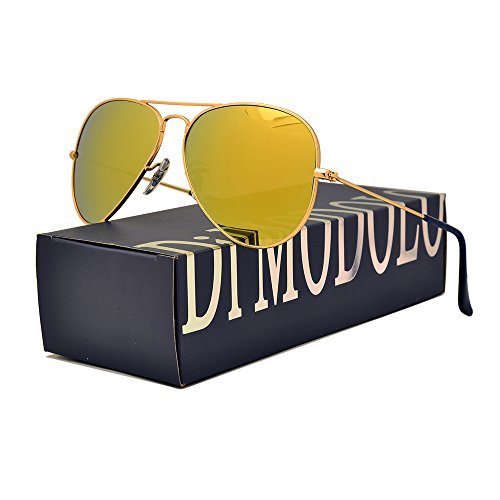 Premium Full Mirrored Aviator Sunglasses w/ Yellow Flash Mirror Glass Lens (Frame: Matte Gold / Lens: Yellow flash, - Mirrored Aviators Yellow