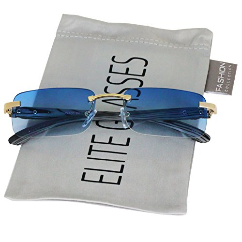 (Elite Slim Rimless Rectangular Metal & Wood Art Aviator Sunglasses (Blue))