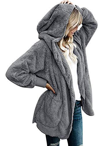 Dickin Women Fashion Casual Solid Plush Open Front Hooded Cardigan Coat Fashion Hoodies
