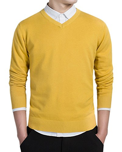 - Kalanman Mens Classic Basic Solid Slim Fit V-neck Knitted Pullover Sweaters (Yellow, US L/Label XXXL)
