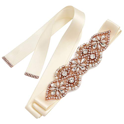 Yanstar Rose Gold Rhinestone Crystal Pearl Beads Wedding Bridal Belt Sash with Cream Ivory Ribbon Sash for Gown Dress