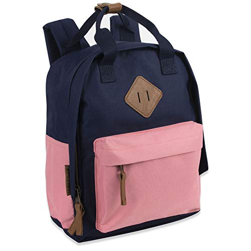 Canvas Mini Backpack for Everyday & Day Pack Rucksack in Solid Color Blocks (Pink/Blue)