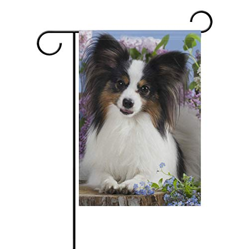Andrea Back Papillon Dog Butterfly Double-Sided Polyester Garden Home Flag Banner for Party Home Outdoor Decor 12x18 inch