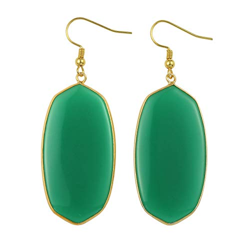 JOVIVI Gold Plated Metal Oval Green Glass Crystal Quartz Drop Dangle Earrings for Women