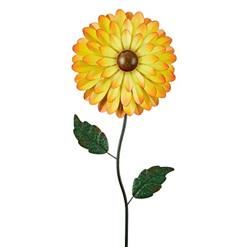 Design Toscano HF109569 Humongous Floral Yellow Pinwheel Metal Sculpture, - Pinwheel Yellow