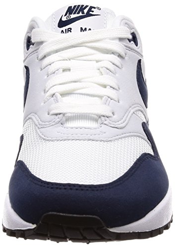 Nike Vrouwen Wmns Air Max 1, Wit / Obsidiaan-zuiver Platina Wit-navy Blue