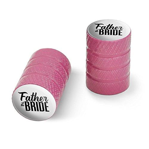オートバイ自転車バイクタイヤリムホイールアルミバルブステムキャップ - ピンク花嫁のウェディングの父