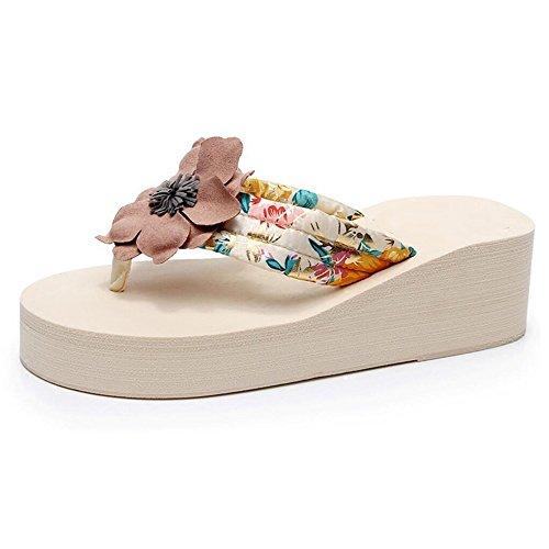 Verano Sandalias Zapatillas de estilo nacional con suela gruesa sandalias antideslizantes talón y zapatillas de verano femenino versión coreana de los zapatos de playa de desgaste exterior Color / tam 01