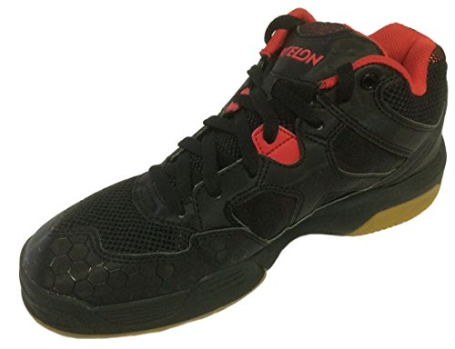 Ektelon Men's NFS Attack Black/Red Synthethic Mid Racquetball Shoes 11 D(M) US