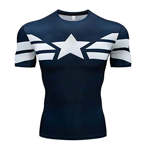 YUNYIYIS Men's Super-Hero Compression Sports Fitness Elastic T-Shirt