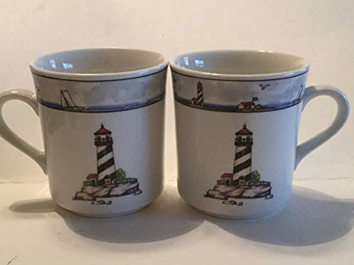 Costal Lighthouse Coffee Cups, Set of 2 Cups ()