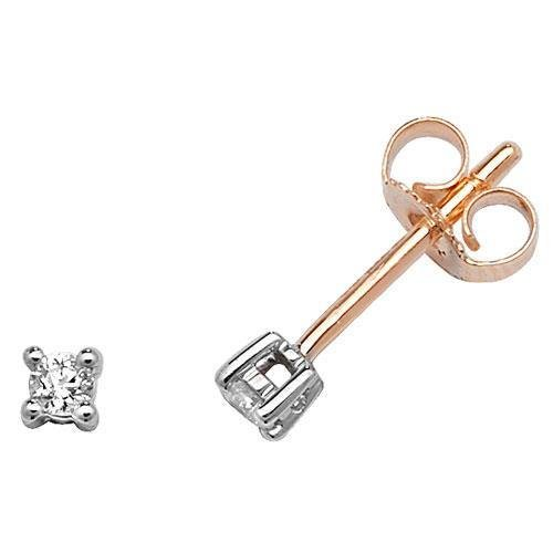 Boucles d'oreille à tige avec diamants or jaune 9 carats H/I1 0,10 ct