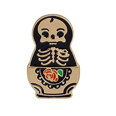 Cartoon Skull Women Brooches Collar Pins Set Enamel Button Black Totem Bound For Jacket Shirt