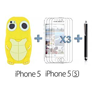 Turtle Style 3D Silicone For SamSung Galaxy S5 Case Cover - Yellow with 3 Screen Protectors and Stylus