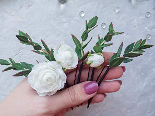 Bridal flower hairpin with white rose gypsophila and eucalyptus Greenery floral