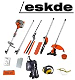 eSkde 52cc Petrol Brushcutter Strimmer Hedge Trimmer Chainsaw 5in1 Multi Tool