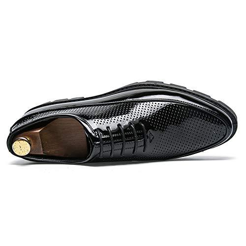 Spessa da Casual Nero Classic Oxford Scarpe Pelle Impermeabili Scarpe Fashion Hollow Business Cricket Verniciata in Men's qPOnxFw1O