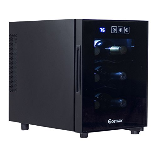 Costway Thermoelectric Wine Cooler Freestanding Cellar Chiller Refrigerator Quiet Compact w/ Touch Control (6 Bottle)
